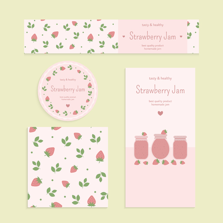 mermelada: Homemade strawberry jam set. Flyer, banner, brochure, label, seamless patterns with strawberries, leaves and jars of jam. Vector elements for design Vectores