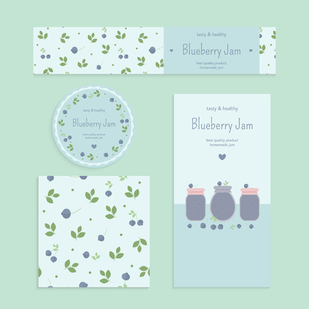 jam: Homemade blueberry jam set. Flyer, banner, brochure, label, seamless patterns with blueberries, leaves and jars of jam. Vector elements for design