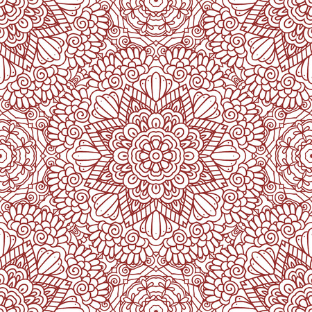 Ethnic doodle seamless pattern. Mehndi henna indian design for textile, cards, background, wrapping paper, packing. Vector illustration