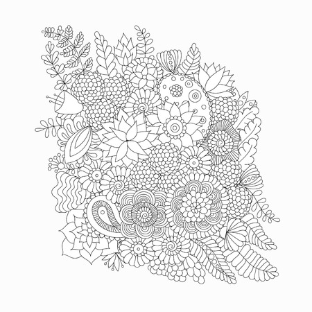 Doodle flower pattern black and white isolated on white background. Vector decorative element for mehndi tattoo, design of cards, invitations, banners