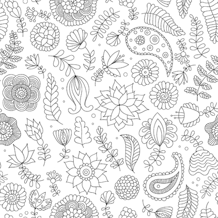 Seamless pattern with black and white doodle flowers on white background. Oriental Indian background in vector for wrapping paper, web wallpaper, fabric, textile and more