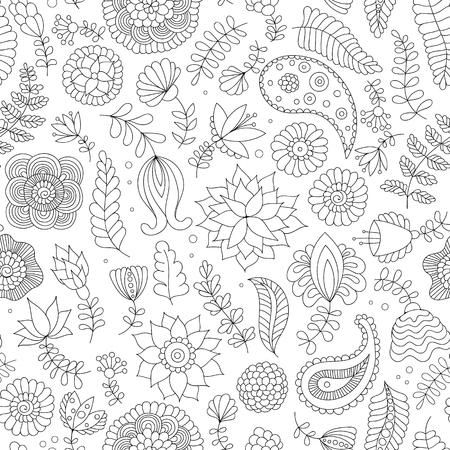 Modèle sans couture avec des fleurs de griffonnage noir et blanc sur fond blanc. Fond indien oriental en vecteur pour papier d'emballage, papier peint web, tissu, textile et plus