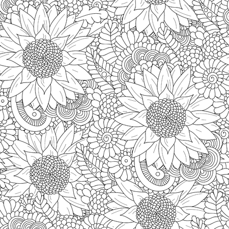 Doodle seamless pattern with sunflowers.