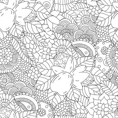 albero nocciola: Doodle seamless con noce.