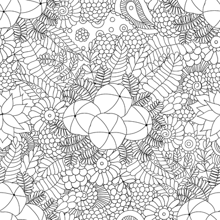 Amalaki plant black and white doodle seamless background. Amla fruits. Hand drawing pattern in vector for textile, fabric, wrapping paper, coloring book