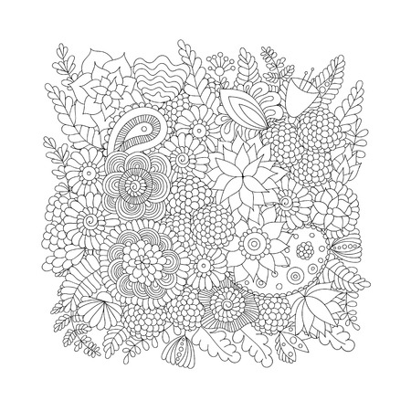 on white: Doodle flower pattern black and white isolated on white background.