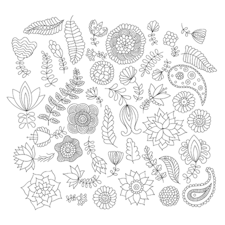 Doodle flower elements black and white isolated.