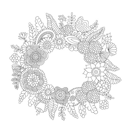 Doodle flower pattern black and white isolated on white background. Vector decorative frame in ethnic Indian style for coloring book, product packaging, brochures, flyers Illustration