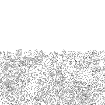 Doodle flower pattern black and white isolated on white background.