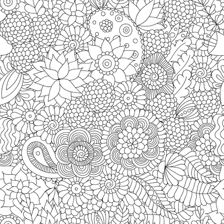 garden design: Doodle flower pattern black and white. Illustration