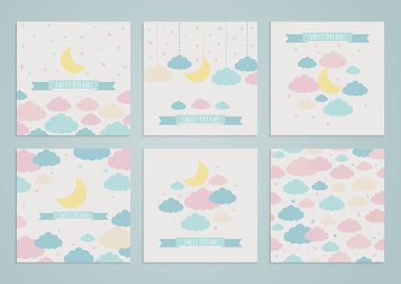 luna caricatura: Conjunto de fondos con la luna, las nubes y las estrellas, y el patrón transparente. Ilustración del vector. Dulces sueños