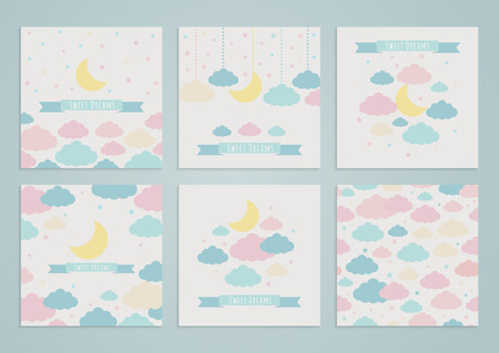 child sleeping: Set of backgrounds with moon, clouds and stars, and seamless pattern. Vector illustration. Sweet dreams
