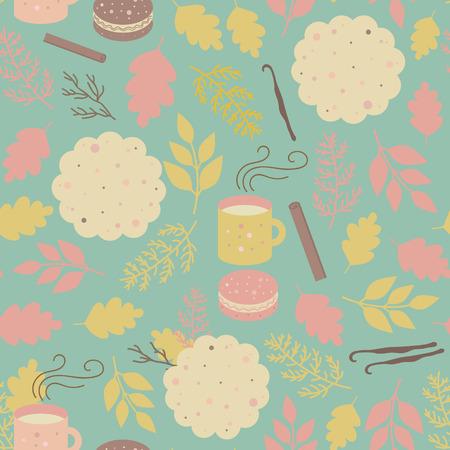 cocina caricatura: De fondo sin fisuras con las tazas de cacao, t�, bizcochos, galletas, canela y vainilla. Modelo del vector para las tiendas de los ni�os, las tiendas de internet, panader�a, caf�s, textiles