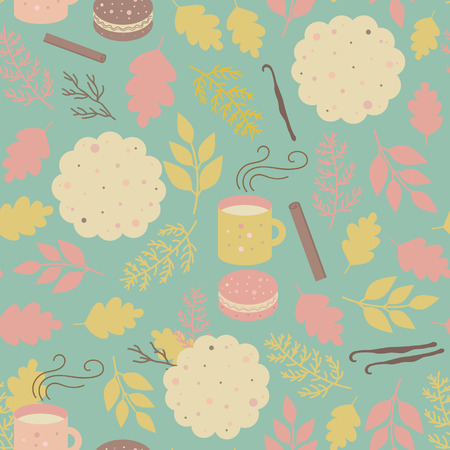 Seamless background with mugs of cocoa, tea, cupcakes, cookies, cinnamon and vanilla. Vector pattern for childrens stores, internet shops, bakery, cafes, textile
