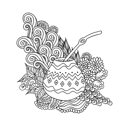 mate: Yerba mate tea in gourd and straw, and floral wave doodle pattern. Hand drawn black and white illustration in vector