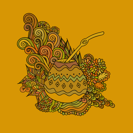 Yerba mate tea in gourd and straw, and floral wave doodle pattern. Hand drawn illustration in vector