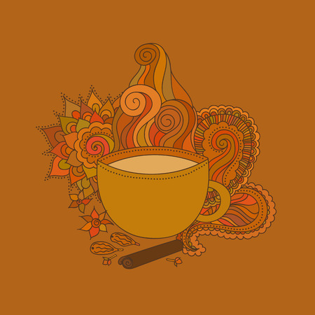 chai: Hand drawn vector illustration. Cup of Indian masala tea and spices, flavoring, ethnic pattern Illustration
