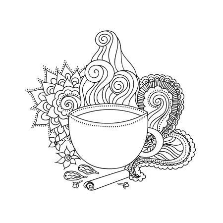 chai: Black and white hand drawn illustration. Cup of Indian masala tea and spices, flavoring, ethnic pattern. Vector illustration