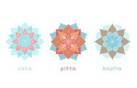 Ayurveda three doshas icons, mandalas. Vata, pitta and kapha doshas. Ayurvedic body types. Vector illustration Illustration
