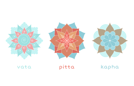 Ayurveda three doshas icons, mandalas. Vata, pitta and kapha doshas. Ayurvedic body types. Vector illustration Illustration