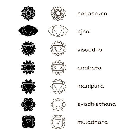 sanskrit: Chakras icons black and white. The concept of chakras used in Hinduism, Buddhism and Ayurveda. Vector set
