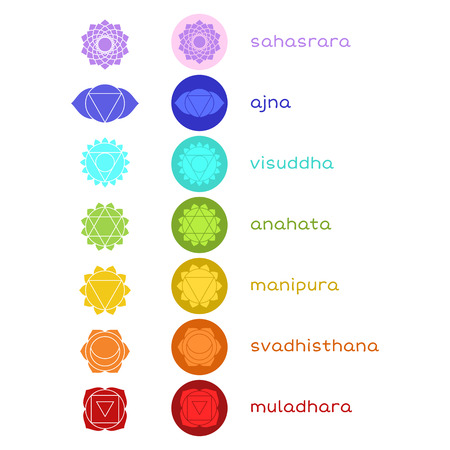 energy healing: Chakras icons. The concept of chakras used in Hinduism, Buddhism and Ayurveda. Vector set