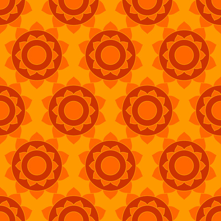 Geometric ethnic background. Abstract indian native seamless pattern in vector yellow and red