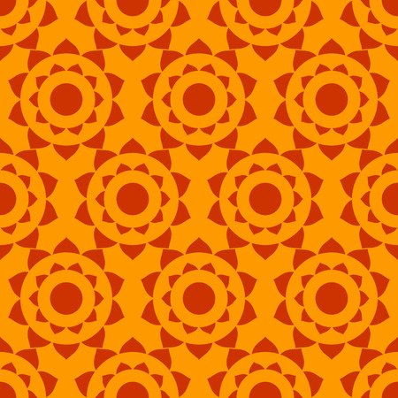 Geometric ethnic background. Abstract indian native seamless pattern in vector red and orange