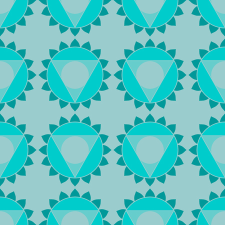visuddha: Abstract geometric ethnic background, chakra symbols, round patterns and triangles. Oriental sacred turquoise seamless pattern in vector