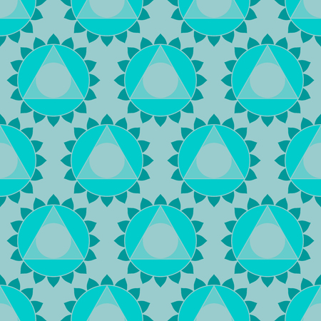 visuddha: Abstract geometric ethnic Indian background, round patterns and triangles. Oriental seamless pattern in vector, turquoise color Illustration