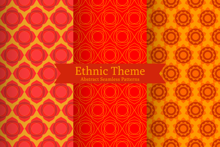 muladhara: Set of abstract geometric ethnic backgrounds. Oriental Indian, Chinese, Buddhistic seamless patterns in vector. Red lotus flowers, chakras. Perfect for fabric, wrapping paper, invitations design