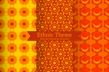 Set of abstract geometric ethnic backgrounds. Oriental Indian, Buddhistic seamless patterns in vector. Round patterns, chakra. Perfect for fabric, wrapping paper, invitations design Illusztráció