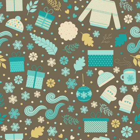 christmas cookie: Christmas seamless pattern. Cute seamless background with gift boxes, christmas toys, snowflakes, mittens, sweater, caps, mugs of tea and cookie. Childish funny background for fabric, wrapping paper