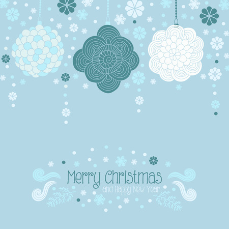 christmas decoration: Christmas and Happy New Year greeting card, invitation with doodle decoration, Christmas toys, garland and snowflakes Illustration