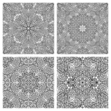 fabric patterns: Set of ethnic seamless patterns in oriental style. Abstract black and white backgrounds for textile, cards, wrapping paper, packing. Vector illustration