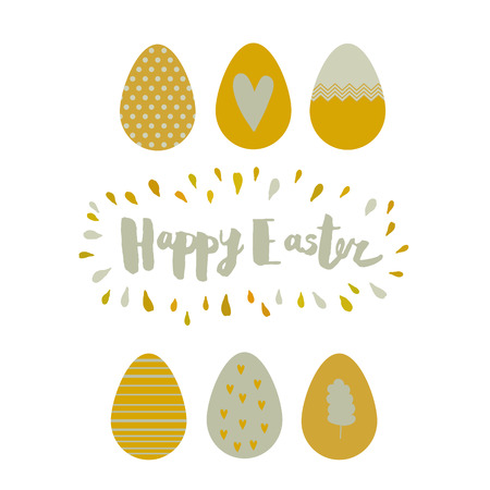 gold eggs: Greeting card with gold Easter eggs with abstract pattern, lettering, frame of the drops. Vector illustration isolated on white background. Happy Easter greeting card