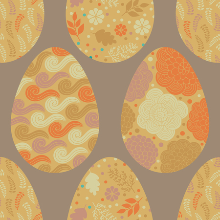 gold eggs: Seamless pattern with gold Easter eggs with abstract wave, floral, doodle patterns. Vector background