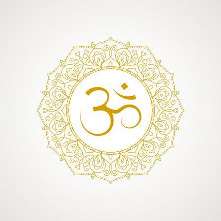 hinduism: s�mbolo de OM de oro. marco de encaje de oro. Vector aislado en el fondo blanco. icono espiritual en religiones indias. Mantra en el hinduismo, el budismo.