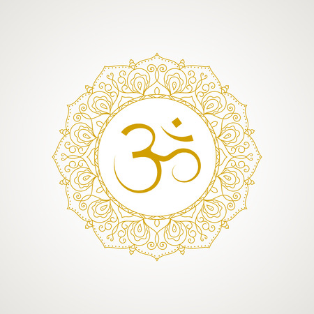 Golden om symbol. Gold lace frame. Vector isolated on white background. Spiritual icon in Indian religions. Mantra in Hinduism, Buddhism. Illustration