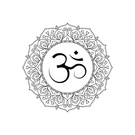 mantra: Om symbol in lace frame. Black and white isolated vector. Spiritual icon in Indian religions. Mantra in Hinduism, Buddhism.