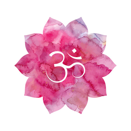 Om sign in lotus flower. Pink watercolor texture. Vector isolated. Spiritual Buddhist, Hindu symbol