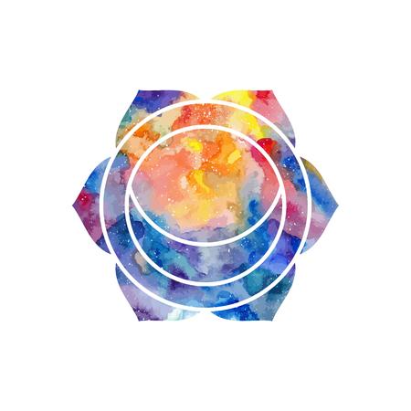 hinduism: Chakra Svadhisthana icono, s�mbolo ayurv�dica, el concepto del hinduismo, budismo. Textura de la acuarela c�smica. Vector aislado en el fondo blanco