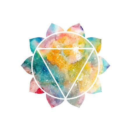 hinduism: Chakra Manipura icono, s�mbolo ayurv�dica, el concepto del hinduismo, budismo. Textura de la acuarela c�smica. Vector aislado en el fondo blanco