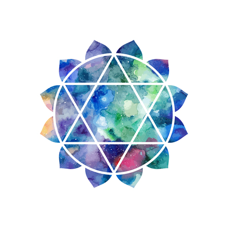 Chakra Anahata icon, ayurvedic symbol, concept of Hinduism, Buddhism. Watercolor cosmic texture. Vector isolated on white background