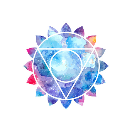 Chakra Vishuddha icon, ayurvedic symbol, concept of Hinduism, Buddhism. Watercolor cosmic texture. Vector isolated on white background