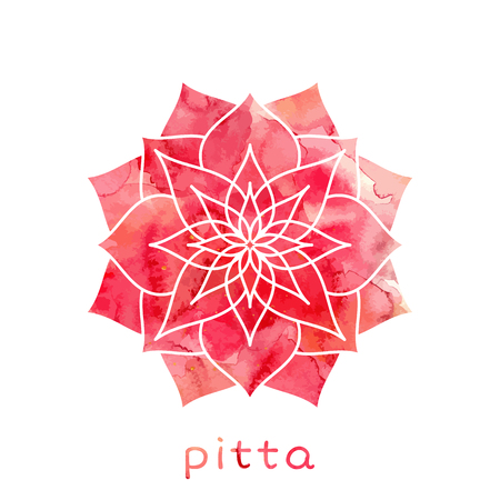 healing: Pitta dosha abstract symbol with watercolor texture in vector. Ayurvedic body type