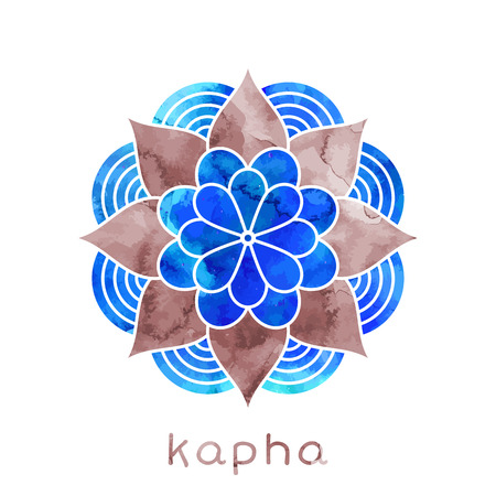 Kapha dosha abstract symbol with watercolor texture in vector. Ayurvedic body type Imagens - 54637192