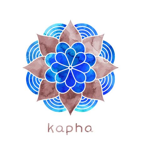 energy healing: Kapha dosha abstract symbol with watercolor texture in vector. Ayurvedic body type