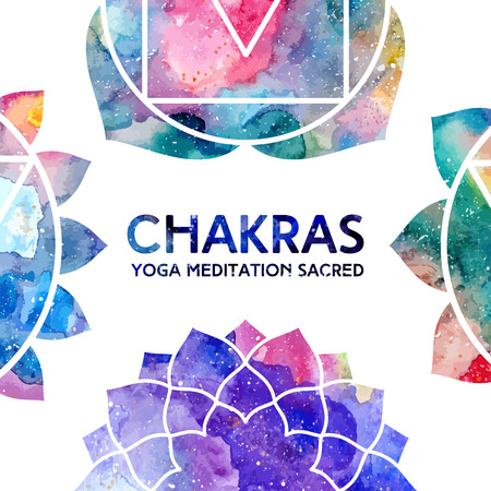 balance rainbow colors: Vector background. Watercolor chakras on white background, colorful frame, bright texture. Perfect for yoga, spa, meditation practice, ayurveda invitations, greetings