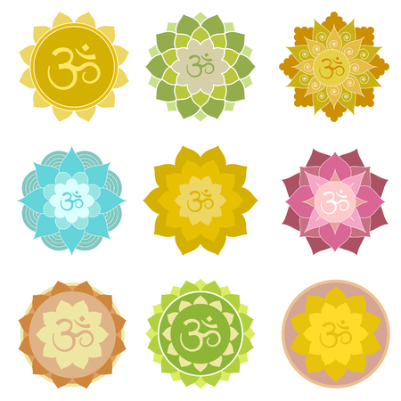 om symbol: Set of om symbols isolated. Perfect for yoga and meditation practice logo, label, invitations and more. Indian spiritual symbols in abstract lotus flowers Illustration